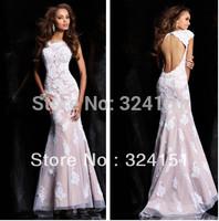 Latest Trending 2013 Mermaid Long Elegant Applique Satin Beige Lace SEXY Evening Dress Prom Party Dresses