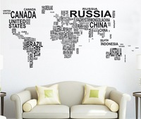 Free shipping !Letters Map of world Wall  Decals Art  Mural  Removable Vinyl Decal  Stickers N-49