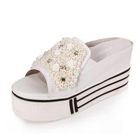Free shiping Meters summer 2013 calf skin platform shoes pearl rhinestone elevator sandals slippers