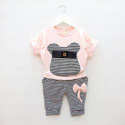 2013 summer new girls cartoon Mickey short-sleeved Tshirt + striped pants suit(China (Mainland))