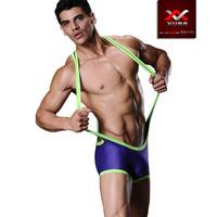 Free shiping,(2pcs/lot), Male pants bodysuit sexy sports vest pants breathable bag neon shirt panties