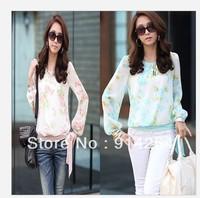 Printing translucent hem lace long-sleeved chiffon blouse 3546    /free shipping