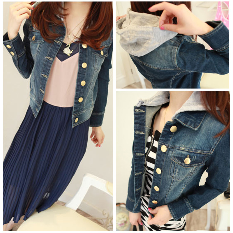 Hot Sale Low Price High Quality Popular Buy 2013 denim outerwear detachable cap copper buckle dark color denim top female slim(China (Mainland))