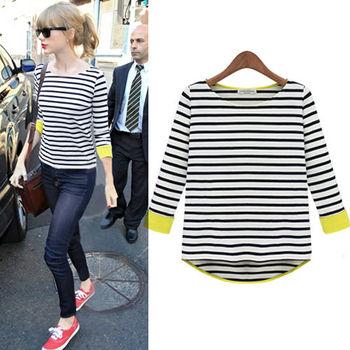 Hot Sale Women New Fashion  T-shirt Striped Printed Neck Long Sleeve Symmetrical Hem Loose Casual  Women Clothing D068
