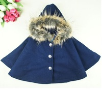 free shipping  2013 new best quality  Winter children  cloak  fashion girl's Collars cloak  children Thick coat