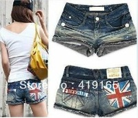Promote women denim shorts, British flag jeans, Hot Women's shorts harem pants A3655 Free Shipping