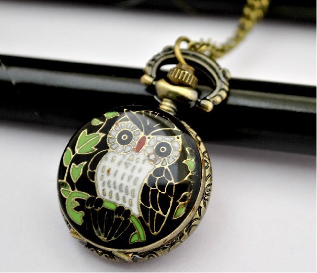 Free Shipping New Elegant Small Size Owl Pocket Watch Necklace With Chain Watch Women P224(China (Mainland))