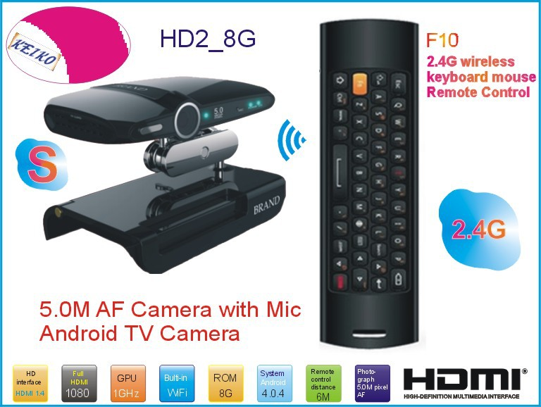 New! 5.0MP and Mic Android TV camera HDMI 1080P 1GB/8GB android 4.0.4 skype Google Android TV box HD2 + Mele F10 Fly Air Mouse(China (Mainland))