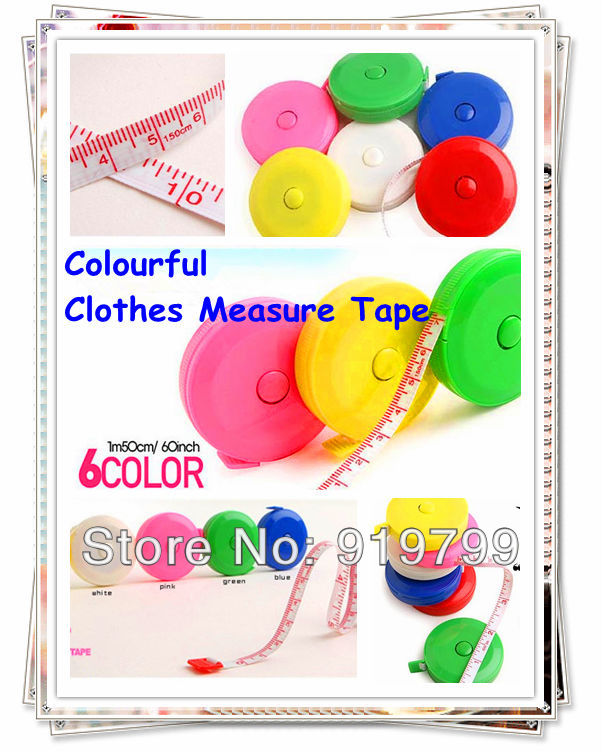 Free Shipping 50 pcs/lot+Colorful Clothes Measuer Tape(150cm/60 inch) 2-sided Color Roll Ruler Tape Soft Automatic roll Ruler(China (Mainland))
