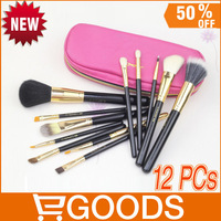 12 pcs Makeup Brush Sets,1 set 12 Pink Zipper Sticks Pack Portable Makeup Brush Sets,Makeup Brush set 12 pcs