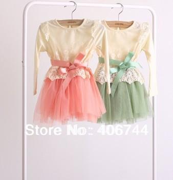 2014 Hot sell kids korea design lace cotton t shirts ,girls fashion  belt shirts,HC16