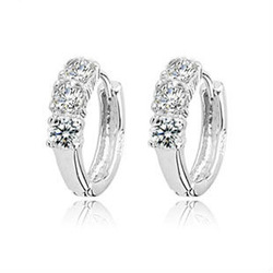 2pcs / 1pair 925 Sterling Silver Luxury Design Korea Style Hoop Ear Crystal Rings Stylish Lady's Earrings Eardrop(China (Mainland))