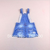 2013 summer girls fashion denim dress girls overall dress with pocket children jean dress kids clothing