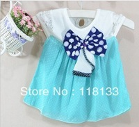 Wholesale -hot sell 2013 new arrival Girls' Refreshing elegant chiffon lace dress