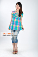 Free shipping 2013Europe and the United States short sleeve chiffon unlined upper garment W11 DRAVUS