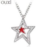 New arrival 2013 austria crystal necklace female short design five-pointed star fashion