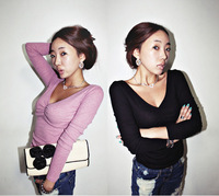 2013 spring V-neck low collar long-sleeve T-shirt thickening women's basic shirt wt031
