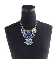Beauty Min.order is $15/ Hot, Free shipping/Wholesale/High quality New czech blue crystal gold plated flower Necklace