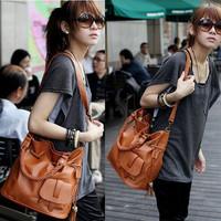Women's handbag  woven bag candy color laies messenger tassel bucket women school student bags