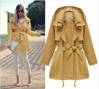 Free Shipping 2013 autumn elegant ladies with a hood fashion long designer denim jacket DY121030