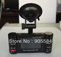 2013 F20 The first time True Dual 720P Double Lens Car Driving recorder H.264 Dual camera Night vision Car black box DVR Camera