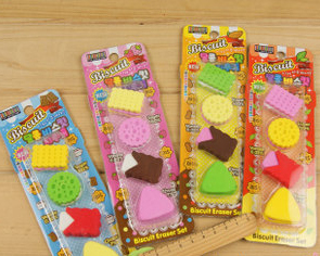 A lot of color cookie cutter Creative stationery prizes Cute school supplies Correction Supplies Eraser Free Shipping(China (Mainland))