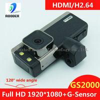 Car DVR 1080P with Ambarella CPU full HD 1920*1080P 30 FPS and HDMI H.264   Sale Car Black Box  GS2000