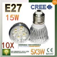 FREE SHIPPING 10pcs/lot Dimmable  E27 5X3W 15W High power LED Bulb Spotlight Downlight Lamp LED Lighting