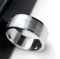 Korean version of the popular titanium steel Scripture the Lord's Prayer Cross Ring Male Ring