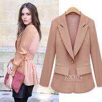 Autumn Winter Suit Fashion Plus Size 3XL Denim Blazer One Button Slim Women Chiffon Patchwork Jacket Free Shipping SY121468