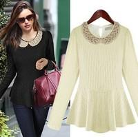 Free Shipping fFashion 2013 New Arrival Winter Slim O-neck Long Sleeve Cotton Blouses Women Korea Neon Ruffle Blouse JB121353