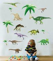 Free Shipping Forest Dinosaurs Jurassic Park Vinyl Wall Sticker For Kids Boys Bedroom Art Decals