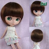 free shipping Blythe doll wig blythe wigs mushroom head black / coffe colour