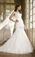 Free Shipping White/Ivory One-Shoulder Organza Applique Mermaid Wedding Dress/Bridal Gown Custom Size/Color Wholesale/Retail