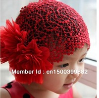 retail  latest Lace big flower cap,baby hats with fashion star cute cap hats for baby HOT SALE VERY good quality,Free shipping