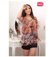 Free Shipping 2013 top sales woman loose chiffon see-through  blouses ,kaftans MOQ 1 pc