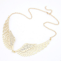 Fine jewelry Occident Uniqu aAngle Wings Gold Plated Studded Rhinestone necklaces & pendants Chains Chokers for Women Jewelry