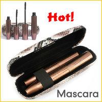 NEW LOVE ATTI 1Set =2 Piece Mascara Gel and Natural Fiber Black Mascara Eyelash Set with Python Pattern Case