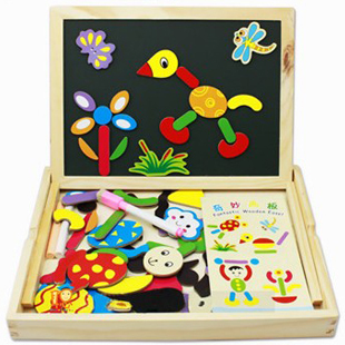 candice guo! hot sale educational wooden toy magnetic puzzle fantastic wooden easel colorful gift 1 pc(China (Mainland))
