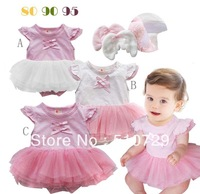 2013 baby romper infant angel bodysuit cotton toddlers with lace tutu flying overalls kids summer crawls 6pcs/lot free shipping