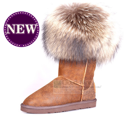 Aus for tr ali for a lu xe collective one piece fur wool snow boots winter boots(China (Mainland))