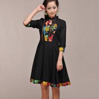 [LYNETTE'S CHINOISERIE - BE.DIFF] spring vintage cheongsam stand collar slim linen Women Plus Size Dress Sz XS S M L XL XXL XXXL