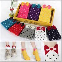 [Vic]Free shipping 2pcs/lot wholesale ladys' Short socks cotton dot Bowknot pattern boat sock 3colors in stock