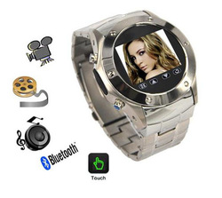 Stainless steel Watch mobile phone Quad-band GSM with bluetooth + Compass + 1.3 mega pixels camera + FM + MP3/MP4 + GPRS, W968T(China (Mainland))