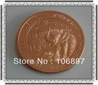 Free shipping 1 oz African Elephant .999 Fine Copper Coin + Airtight