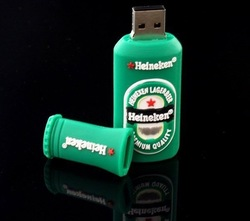 Free Shipping 4GB 8GB 16GB 32GB 64GB Beer Bottle Shaped Style cartoon USB Flash Dirve With Retail Packaging(China (Mainland))