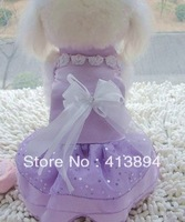 Low Price Wholesale! Beautiful Elegant Summer Pet Clothes Dog Clothes Purple Wedding Dress Shirt, Free Shipping