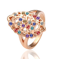 18K Gold Plated Ring R004 Sweet Jewelry Nickel Free Golden Plating Rhinestone Crystal Rings Promotion Price