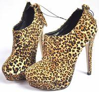 Leopard print waterproof 13 stiletto boots ankle-length plus size boots 374142