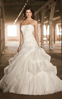 Free Shipping Elegant White/Ivory Strapless Organza Applique A-Line Wedding Dress/Bridal Gown Custom Size Wholesale/Retail